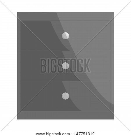 Chest of drawers icon in black monochrome style isolated on white background. Home and interior symbol vector illustration
