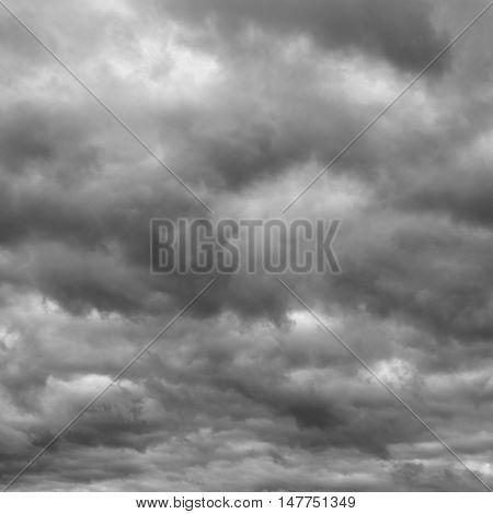 Storm sky rain. Thunderclouds over horizon dark gray