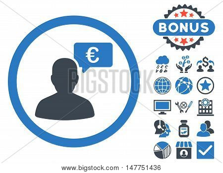 European Person Opinion icon with bonus images. Vector illustration style is flat iconic bicolor symbols, smooth blue colors, white background.