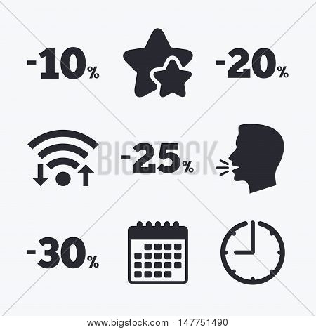 Sale discount icons. Special offer price signs. 10, 20, 25 and 30 percent off reduction symbols. Wifi internet, favorite stars, calendar and clock. Talking head. Vector