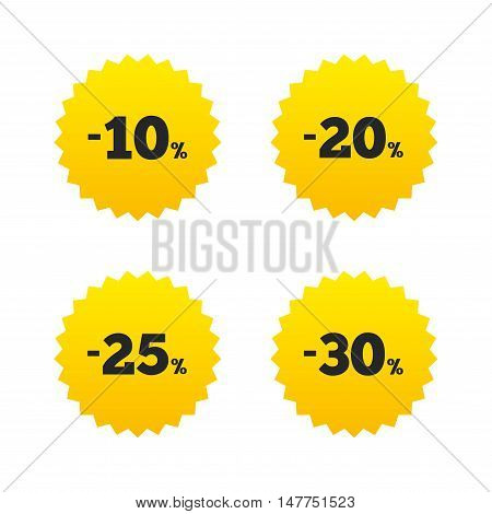 Sale discount icons. Special offer price signs. 10, 20, 25 and 30 percent off reduction symbols. Yellow stars labels with flat icons. Vector