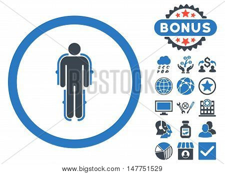 Exoskeleton icon with bonus images. Vector illustration style is flat iconic bicolor symbols, smooth blue colors, white background.