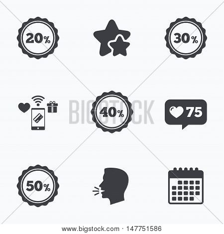 Sale discount icons. Special offer stamp price signs. 20, 30, 40 and 50 percent off reduction symbols. Flat talking head, calendar icons. Stars, like counter icons. Vector