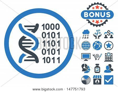 Genetical Code icon with bonus elements. Vector illustration style is flat iconic bicolor symbols, smooth blue colors, white background.