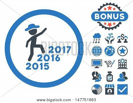 Gentleman Steps Years icon with bonus images. Vector illustration style is flat iconic bicolor symbols, smooth blue colors, white background.
