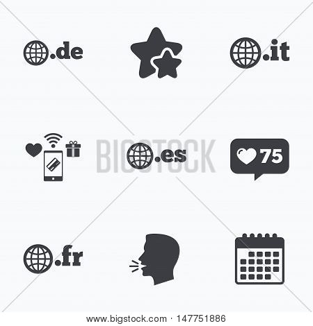 Top-level internet domain icons. De, It, Es and Fr symbols with globe. Unique national DNS names. Flat talking head, calendar icons. Stars, like counter icons. Vector
