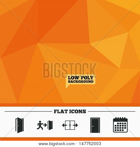 Triangular low poly orange background. Automatic door icon. Emergency exit with human figure and arrow symbols. Fire exit signs. Calendar flat icon. Vector