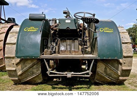 ROLLAG, MINNESOTA, Sept 1. 2016: The historic Oil Pull steam engine is displayed at the West Central Steam Threshers Reunion in Rollag, MN attended by 1000's held annually on Labor Day weekend.