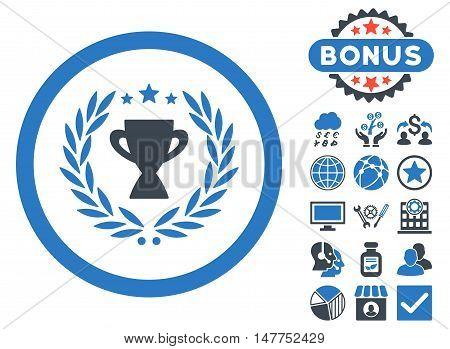 Glory icon with bonus symbols. Vector illustration style is flat iconic bicolor symbols, smooth blue colors, white background.