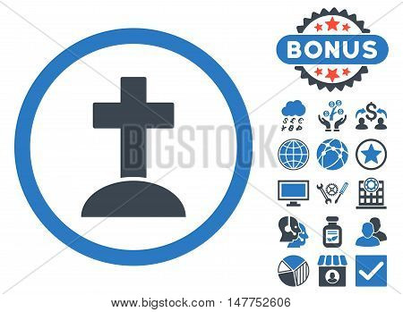 Grave icon with bonus images. Vector illustration style is flat iconic bicolor symbols, smooth blue colors, white background.