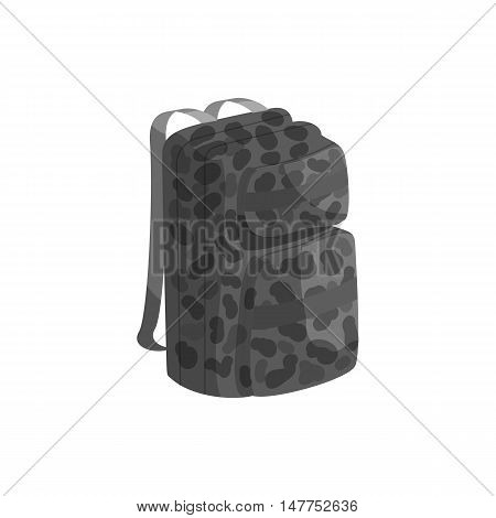 Backpack icon in black monochrome style isolated on white background vector illustration