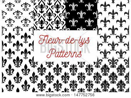 Fleur-de-lis seamless patterns set. Black and white vintage backgrounds set with royal victorian fleur-de-lis ornament. Vintage interior or wallpaper design