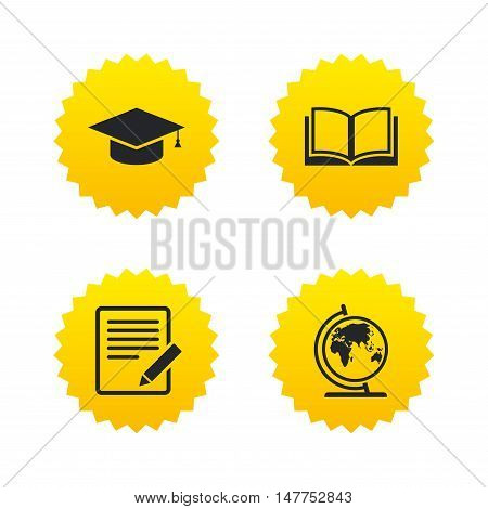 Pencil with document and open book icons. Graduation cap and geography globe symbols. Learn signs. Yellow stars labels with flat icons. Vector