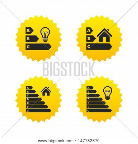 Energy efficiency icons. Lamp bulb and house building sign symbols. Yellow stars labels with flat icons. Vector
