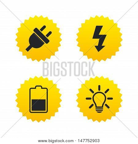 Electric plug icon. Light lamp and battery half symbols. Low electricity and idea signs. Yellow stars labels with flat icons. Vector