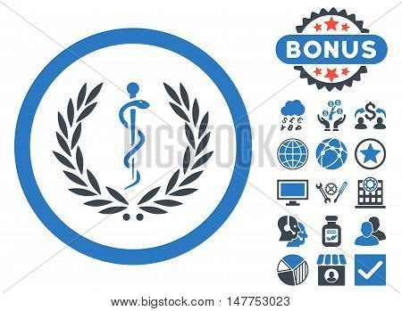 Health Care Emblem icon with bonus pictures. Vector illustration style is flat iconic bicolor symbols, smooth blue colors, white background.