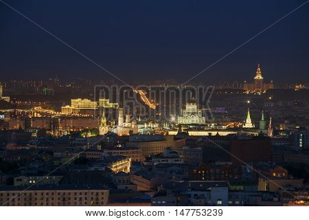 Cathedral of Christ Savior, Kremlin with illumination at night in Moscow, Russia