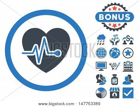 Heart Pulse icon with bonus elements. Vector illustration style is flat iconic bicolor symbols, smooth blue colors, white background.
