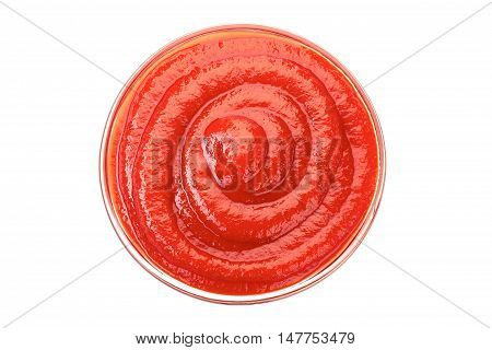 Bowl of ketchup or tomato sauce isolated on white background. Top view.