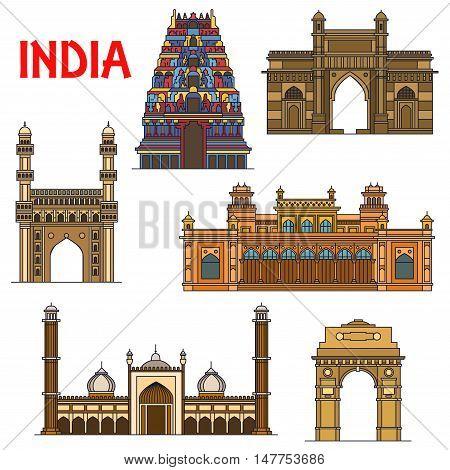 Travel landmarks of indian architecture icon with thin line India Gate, hindu Meenakshi Amman Temple, Gateway of India, islamic mosque Jama Masjid, mosque Charminar, royal palace Chowmahalla