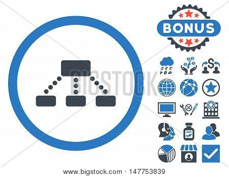 Hierarchy icon with bonus elements. Vector illustration style is flat iconic bicolor symbols, smooth blue colors, white background.