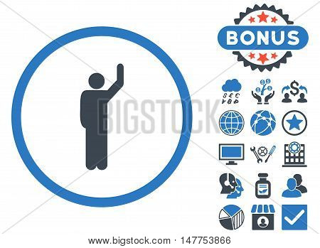 Hitchhike icon with bonus images. Vector illustration style is flat iconic bicolor symbols, smooth blue colors, white background.