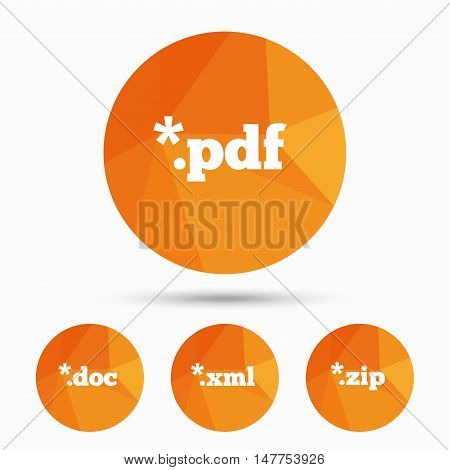 Document icons. File extensions symbols. PDF, ZIP zipped, XML and DOC signs. Triangular low poly buttons with shadow. Vector