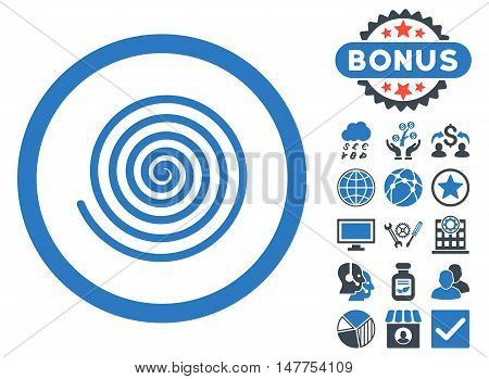 Hypnosis icon with bonus pictogram. Vector illustration style is flat iconic bicolor symbols, smooth blue colors, white background.
