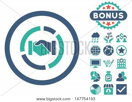 Acquisition Diagram icon with bonus symbols. Vector illustration style is flat iconic bicolor symbols, cobalt and cyan colors, white background.