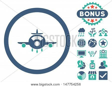 Aircraft icon with bonus pictogram. Vector illustration style is flat iconic bicolor symbols, cobalt and cyan colors, white background.