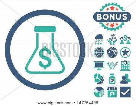 Alchemy icon with bonus images. Vector illustration style is flat iconic bicolor symbols, cobalt and cyan colors, white background.
