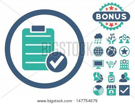 Apply Form icon with bonus pictogram. Vector illustration style is flat iconic bicolor symbols, cobalt and cyan colors, white background.