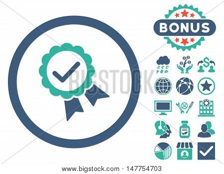 Approved icon with bonus elements. Vector illustration style is flat iconic bicolor symbols, cobalt and cyan colors, white background.