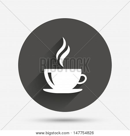 Coffee cup sign icon. Hot coffee button. Hot tea drink with steam. Circle flat button with shadow. Vector