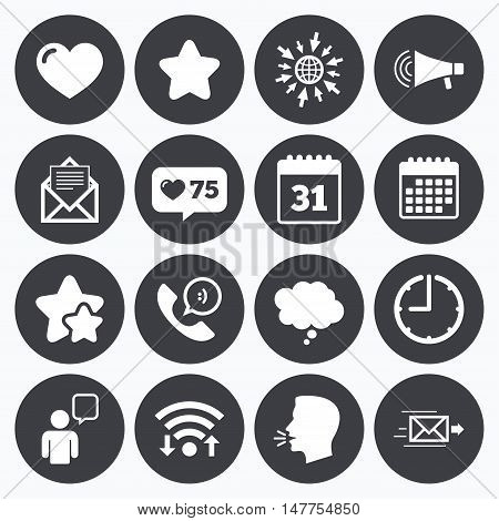 Calendar, wifi and clock symbols. Like counter, stars symbols. Mail, contact icons. Favorite, like and calendar signs. E-mail, chat message and phone call symbols. Talking head, go to web symbols. Vector