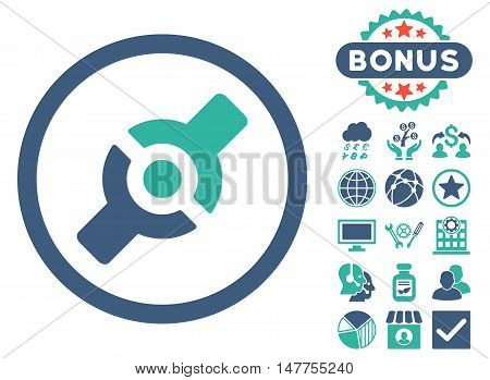 Artificial Joint icon with bonus images. Vector illustration style is flat iconic bicolor symbols, cobalt and cyan colors, white background.