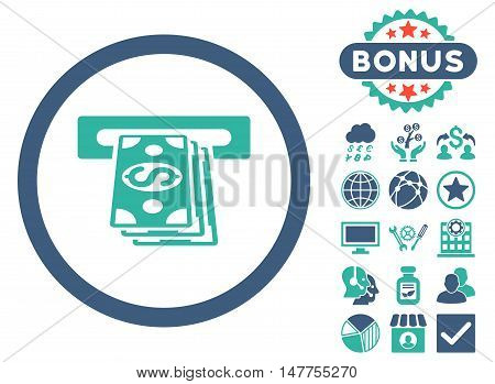 Atm Cashout icon with bonus design elements. Vector illustration style is flat iconic bicolor symbols, cobalt and cyan colors, white background.