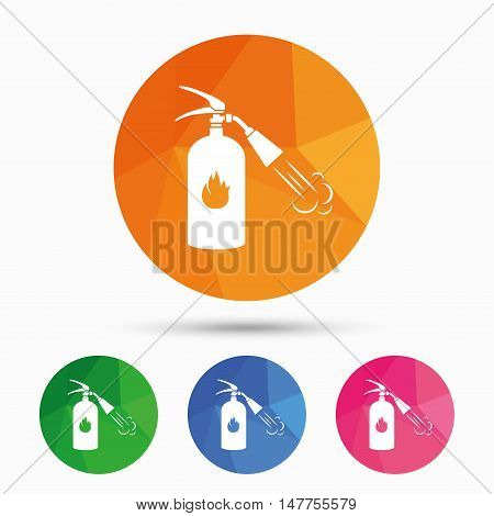 Fire extinguisher sign icon. Fire safety symbol. Triangular low poly button with flat icon. Vector