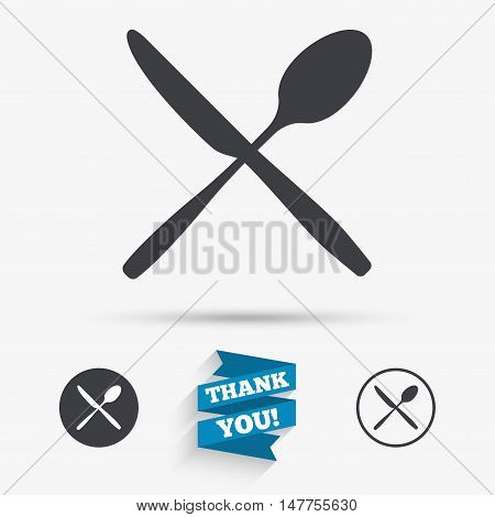Eat sign icon. Cutlery symbol. Knife and spoon crosswise. Flat icons. Buttons with icons. Thank you ribbon. Vector