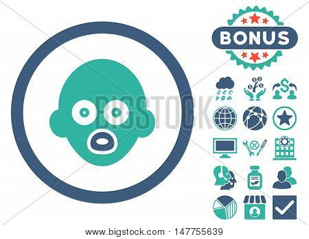 Baby Head icon with bonus images. Vector illustration style is flat iconic bicolor symbols, cobalt and cyan colors, white background.