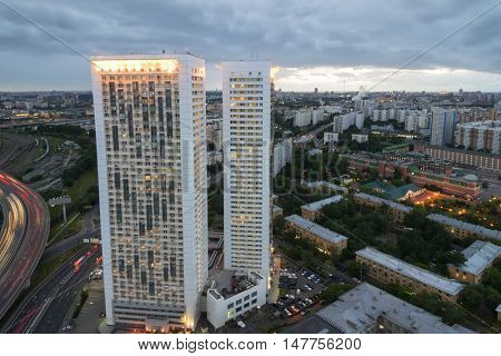 MOSCOW, RUSSIA - JUL 8, 2016: Building on Begovaya street, twin 38-storey towers - is part of largest residential complex with 1946 apartments in Moscow