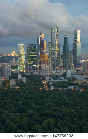 MOSCOW - JUL 8, 2016: Modern Moscow International Business Center and park. In 2016 on territory of Moscow International Business Center twenty of twenty-three planned facilities is built