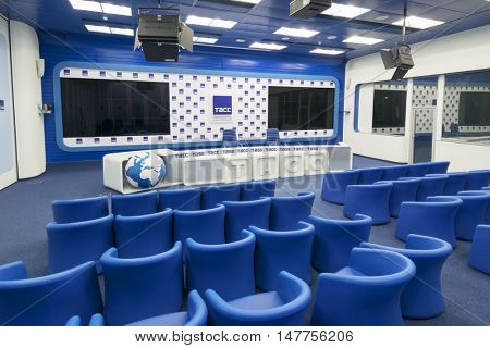 MOSCOW - JUL 26, 2016: Empty stylish meeting room in TASS News Agency of Russia
