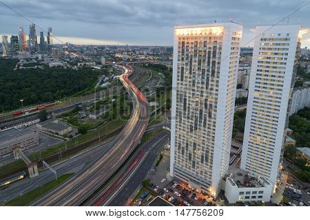 MOSCOW, RUSSIA - JUL 8, 2016: Building on Begovaya street, highway, twin 38-storey towers - is part of largest residential complex with 1946 apartments in Moscow