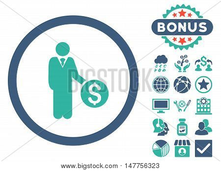 Banker icon with bonus pictogram. Vector illustration style is flat iconic bicolor symbols, cobalt and cyan colors, white background.