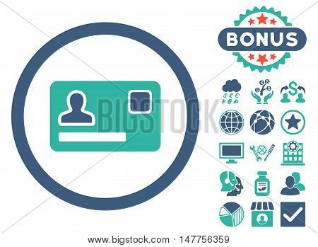 Banking Card icon with bonus design elements. Vector illustration style is flat iconic bicolor symbols, cobalt and cyan colors, white background.