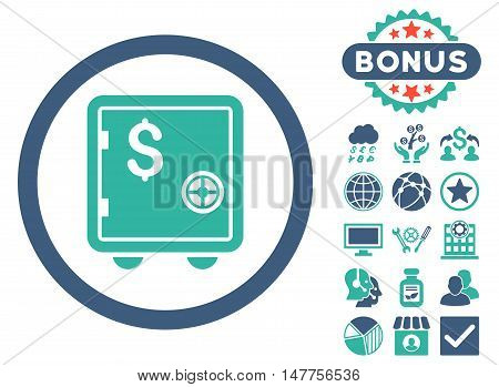 Banking Safe icon with bonus images. Vector illustration style is flat iconic bicolor symbols, cobalt and cyan colors, white background.