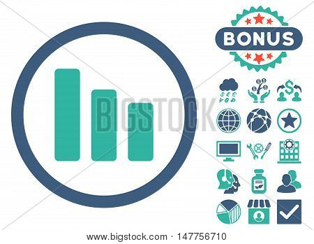 Bar Chart Decrease icon with bonus design elements. Vector illustration style is flat iconic bicolor symbols, cobalt and cyan colors, white background.