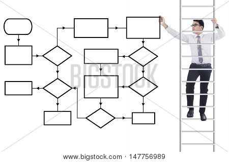 Young businessman climbing a ladder and drawing a business flowchart on the whiteboard