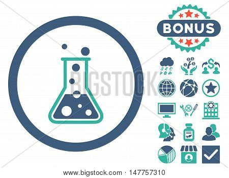 Boiling Liquid Flask icon with bonus symbols. Vector illustration style is flat iconic bicolor symbols, cobalt and cyan colors, white background.